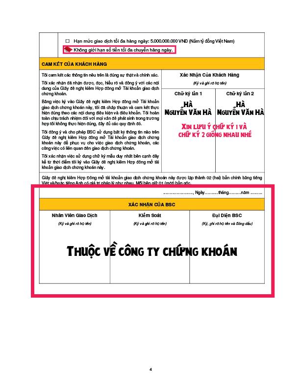 Cách ký vào hợp đồng mở tài khoản chứng khoán BSC trang 4