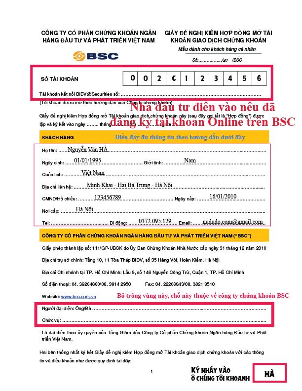 Hướng dẫn mở tài khoản chứng khoán Online BSC miễn phí
