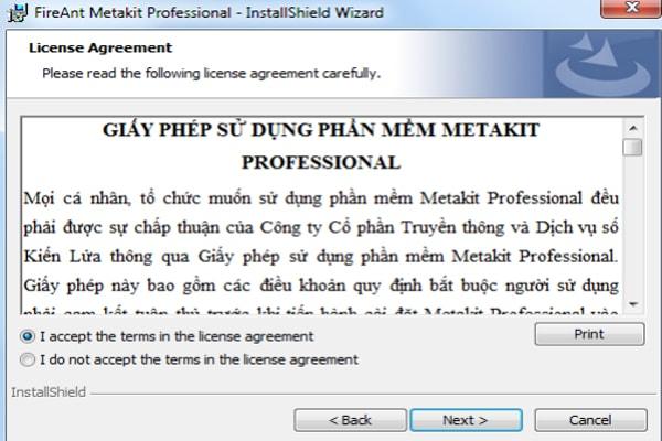 giấy phép sử dụng metakit