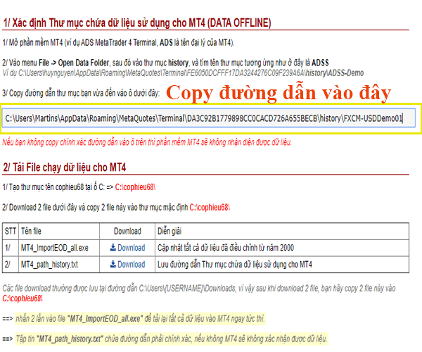 Copy đường dẫn chứa dữ liệu lịch sử cho MT4