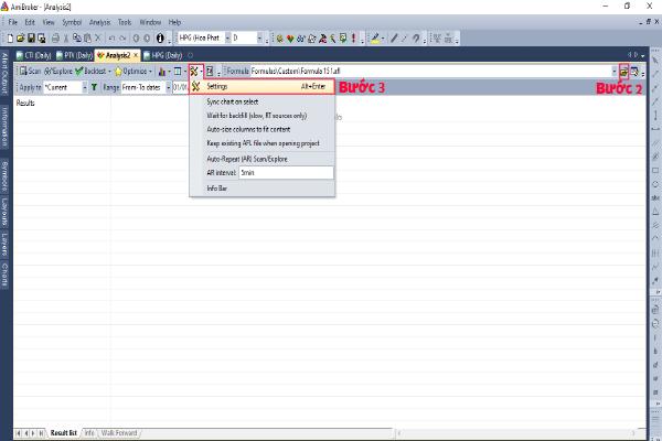 Hình 2: Thiết lập settings backtest trong Amibroker