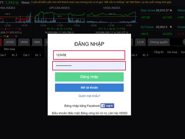 Cách đăng nhập tài khoản chứng khoán VPS trên bảng giá